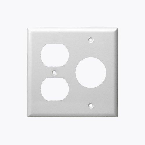 White 2-Gang Duplex & Single Receptacle Combo Plastic Wall Plate