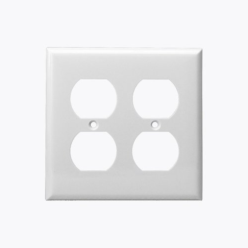 White 2-Gang Mid-Size Duplex Receptacle Plastic Wall Plates