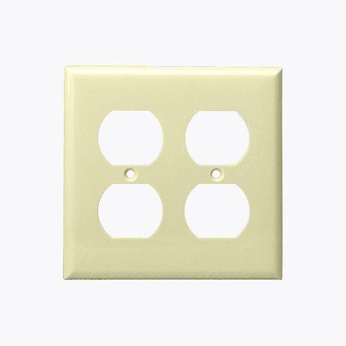 Ivory 3-Gang Duplex Receptacle Plastic Wall Plates