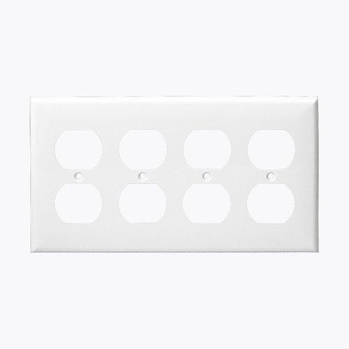 White 4-Gang Duplex Receptacle Plastic Wall Plates
