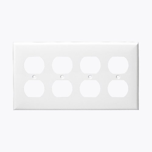 White 4-Gang Duplex Receptacle Plastic Wall Plates