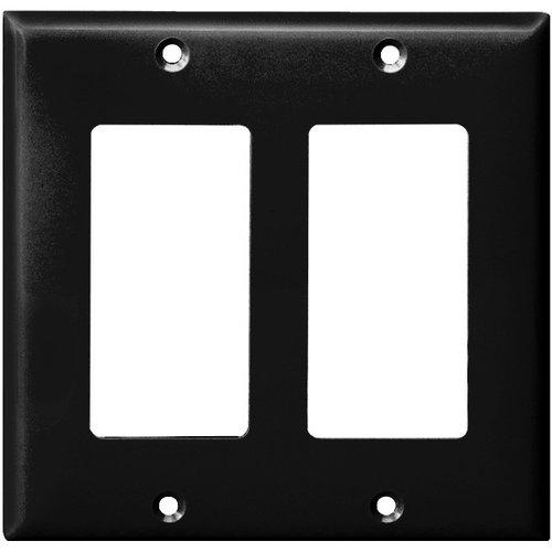 Black Colored 2-Gang Decorator/GFCI Plastic Wall plates