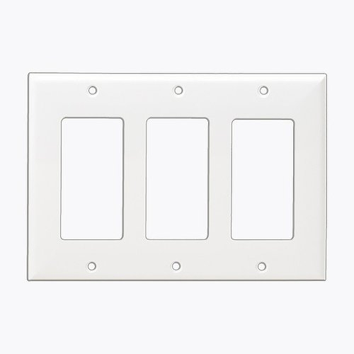 Almond Colored 3-Gang Decorator/GFCI Plastic Wall plates