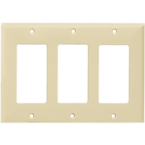 Ivory Colored 3-Gang Decorator/GFCI Plastic Wall plates
