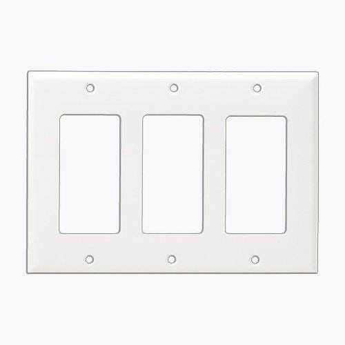 White Colored 3-Gang Decorator/GFCI Plastic Wall plates