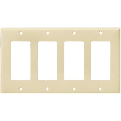 Ivory Colored 4-Gang Mid-Size Decorator/GFCI Plastic Wall plates