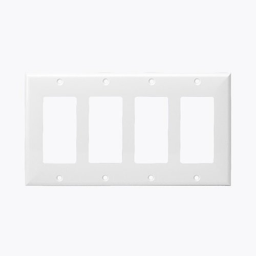 White Colored 4-Gang Decorator/GFCI Plastic Wall plates
