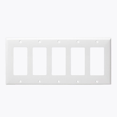 White Colored 5-Gang Decorator/GFCI Plastic Wall plates