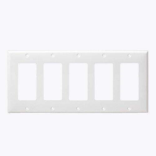 White Colored 5-Gang Decorator/GFCI Plastic Wall plates