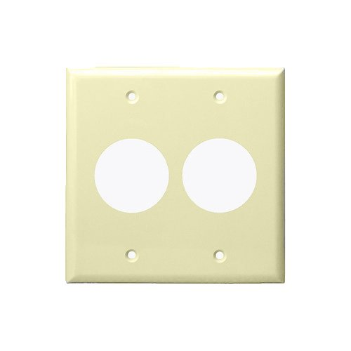 Ivory 2-Gang Single Receptacle Plastic Straight Blade Plastic Wall Plate