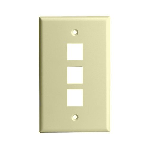 Ivory Colored 1-Gang 3-Port Multimedia Face Plates