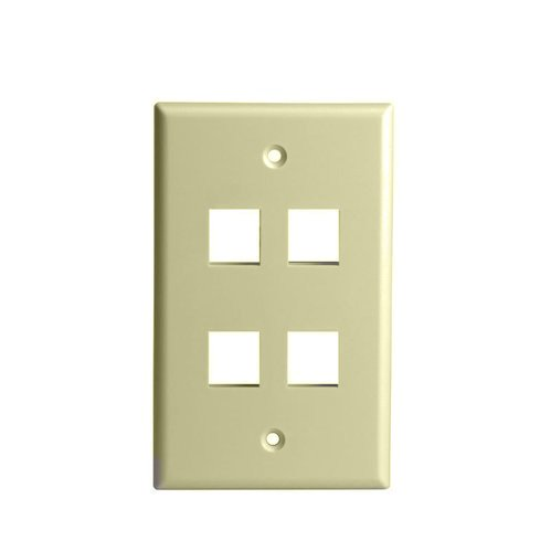 Ivory Colored 1-Gang 4-Port Multimedia Face Plates