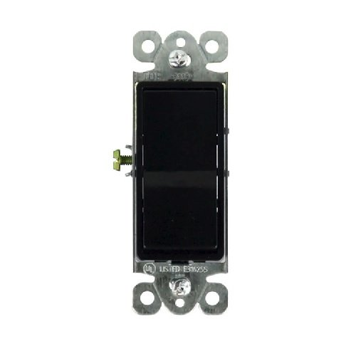 Black Residential Grade AC Quiet Single Pole 15A Decorator Switch