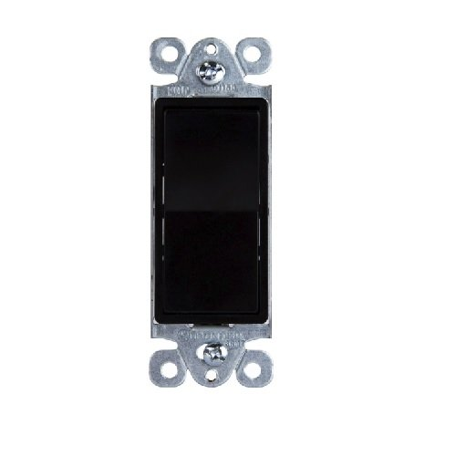 Black Residential Grade AC Quiet Decorator Three-Way Paddle Switch