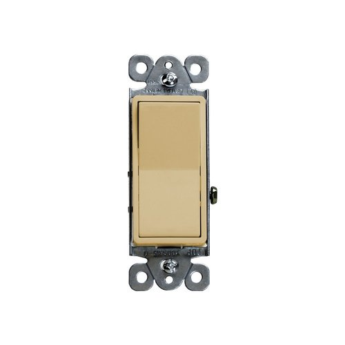 Almond Residential Push-In and Side Wired 15A Three-Way Paddle Switch