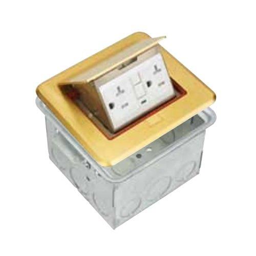 Brass Commercial Grade Rectangular Pop-Up Floor Box for 20A GFCI Receptacle