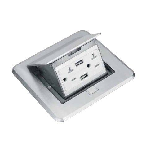 Nickel-Plated Brass  Rectangular Pop-Up Floor Box w/ 4.0A USB Port
