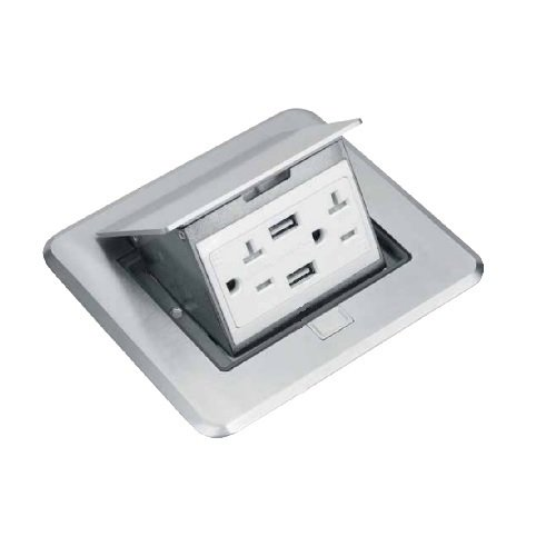 Nickel-Plated Brass  Rectangular Pop-Up Floor Box w/ 4.0A USB Port