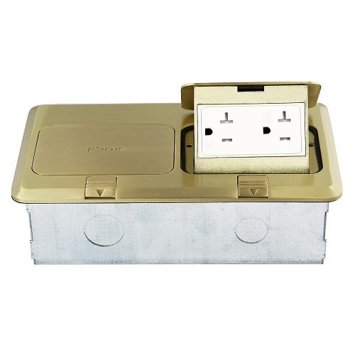 Brass 2-Gang Pop-Up Floor Box with 20A Tamper & Weather Resistant GFCI