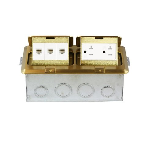 Brass 2-Gang Pop-Up Floor Box with 20A TRWR GFCI & 3 RJ45 Jacks