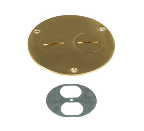 Brass Flush Round Cover Plate with 20A Tamper & Weather Resistant GFCI