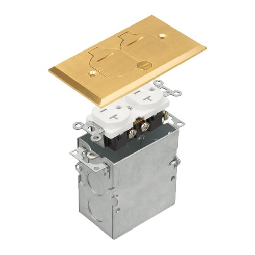 Brass 1-Gang Floor Box with Flip Lid Cover with 20A TRWR Duplex GFCI