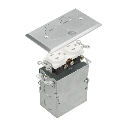 Stainless Steel 1-Gang Floor Box with Flip Cover & 20A TRWR Duplex GFCI