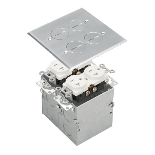 Stainless Steel 2-Gang Floor Box with 20A TRWR Duplex Receptacle