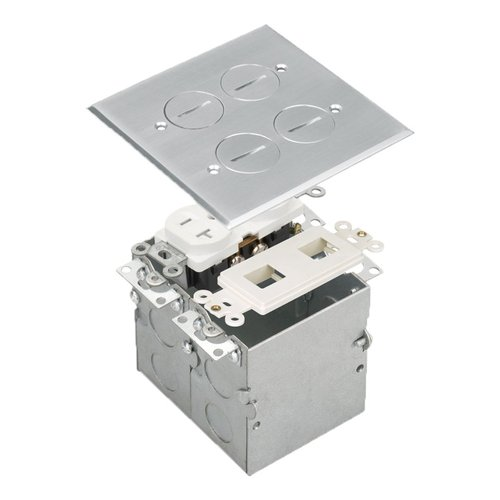 Stainless Steel 2-Gang Floor Box with 20A TRWR Duplex Receptacle & Datacom