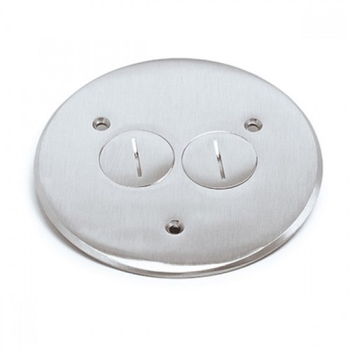 Brass Flush Round Cover Plate with 20A TRWR Duplex Receptacle