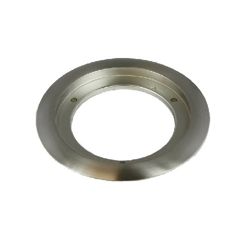 "Nickle-Plated Brass 5.25"" Dia Round Flange Receptacle Plate"