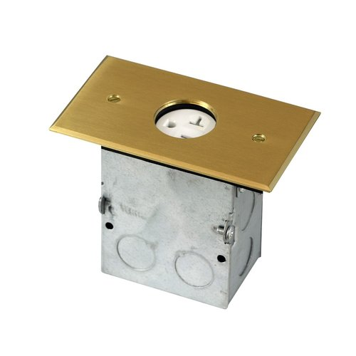 20A Brass 1-Gang Floor Box wtih Tamper & Weather Resistant Receptacle