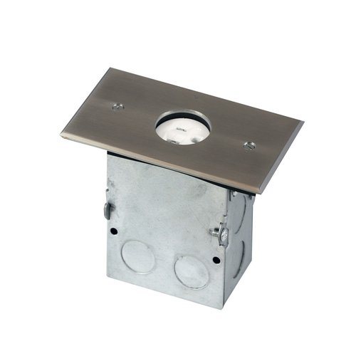 Stainless Steel 1-Gang Floor Box with 20A TRWR Single Receptacle