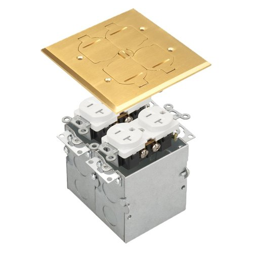 Brass 2-Gang Floor Box w/ Flip Cover & 20A TRWR Receptacle