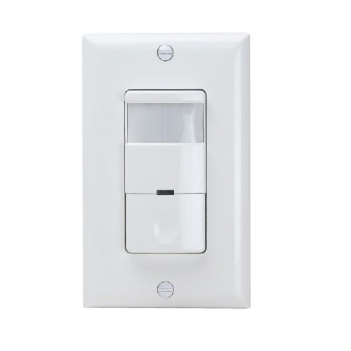 White Dual Single Pole Decorator PIR Occupancy Sensor Wall Switch w/ Built-in Night Light