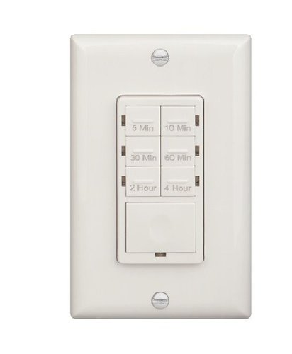 White 4 Hour In-Wall Preset Timer Switch w/ Wall Plates