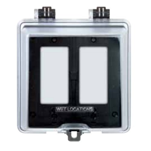Clear 2-Gang Duplex Toggle & GFCI Weatherproof Cover