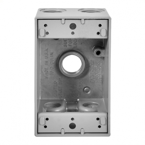 1-Gang FS Electrical Box, 5 Holes, Weatherproof, Cast Aluminum