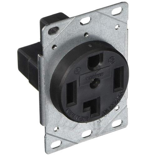 30 amp power receptacle, nema 14-30r, black