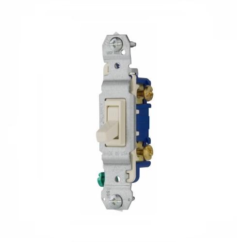 Eaton 15 Amp Toggle Switch, Single-Pole, Light Almond on