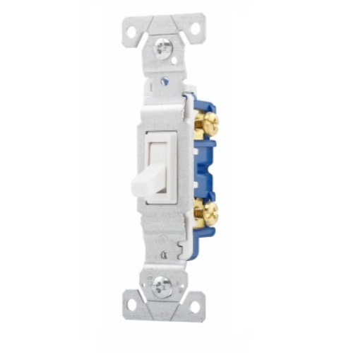 Toggle Switch Wiring >> Eaton 15 Amp Single Pole Toggle Switch Non Grounded White