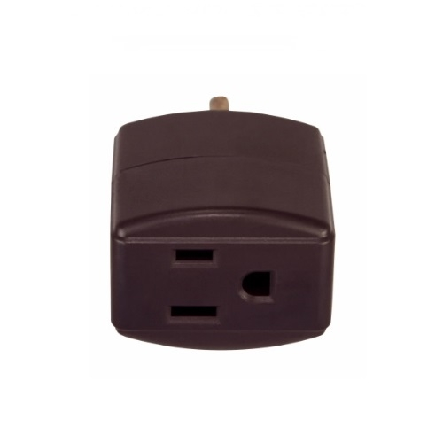 15 Amp Cube Tap, Three Outlet, 125V, Brown