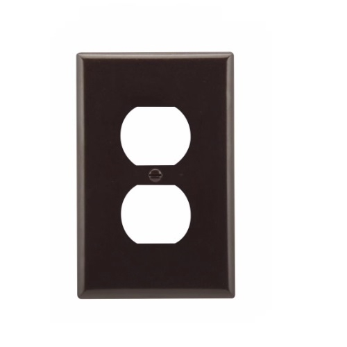 Mid-Size Duplex Receptacle Thermoset Wallplate, Brown