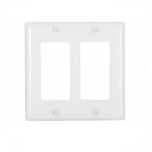 2-Gang Thermoset Decorator Wallplate, White