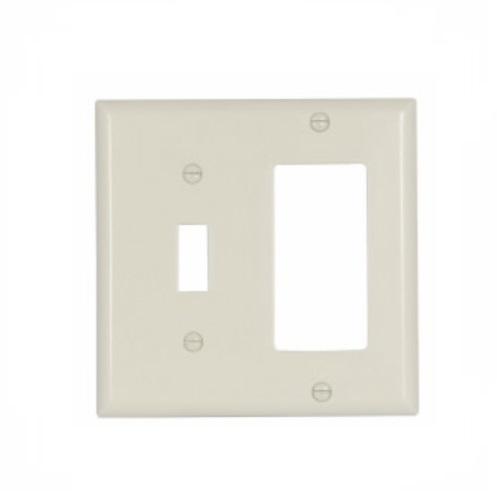 Eaton 2-Gang Decora & Toggle Wall Plate, Standard, Almond