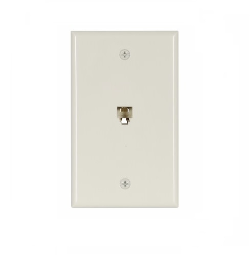 4-conductor phone wall jack, light almond