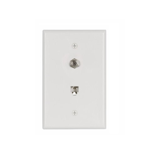 flush mount wall plates w/ coax & phone jack, mid-size, white