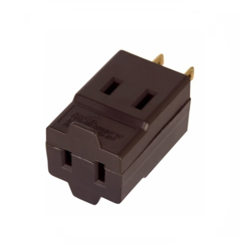 15 Amp Cube Tap, Three Outlet, NEMA 1-15R, Brown