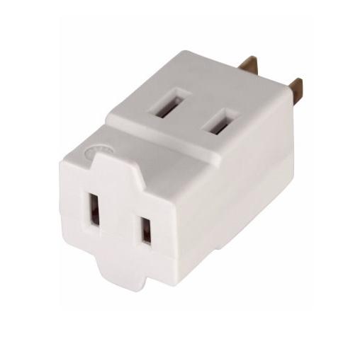 15 Amp Cube Tap, NEMA 1-15R, Polarized, White