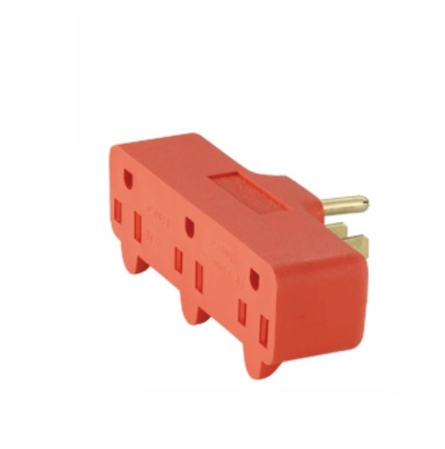 15 Amp Cube Tap, Three Outlet, Orange